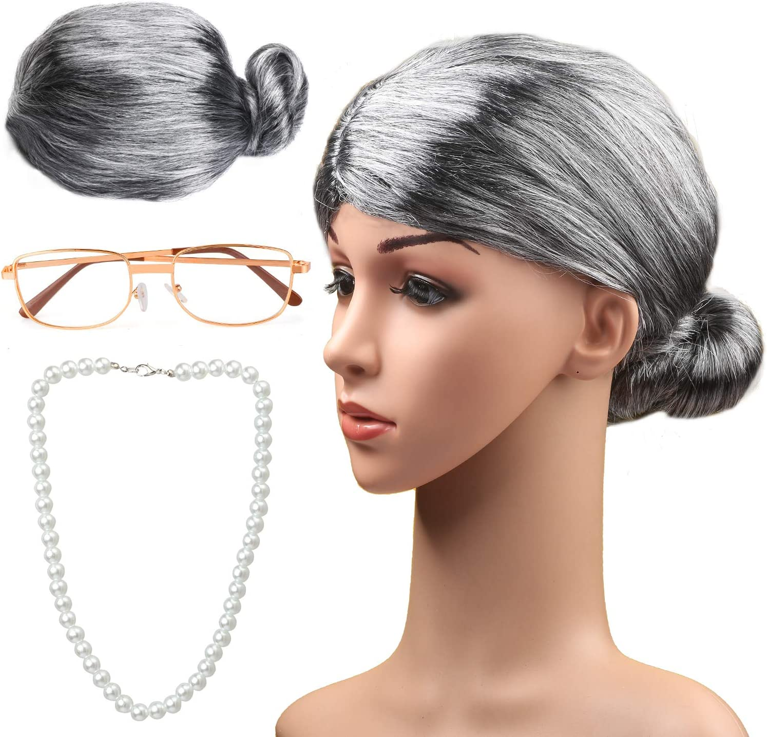 Haichen Old Lady Costume Grandmother Cosplay Accessories Set ...