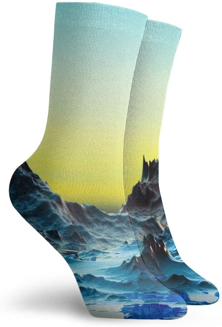 WEEDKEYCAT 3D Cold Water Landscape Adult Short Socks Cotton Sports Socks for Mens Womens Yoga Hiking Cycling Running Soccer Sports