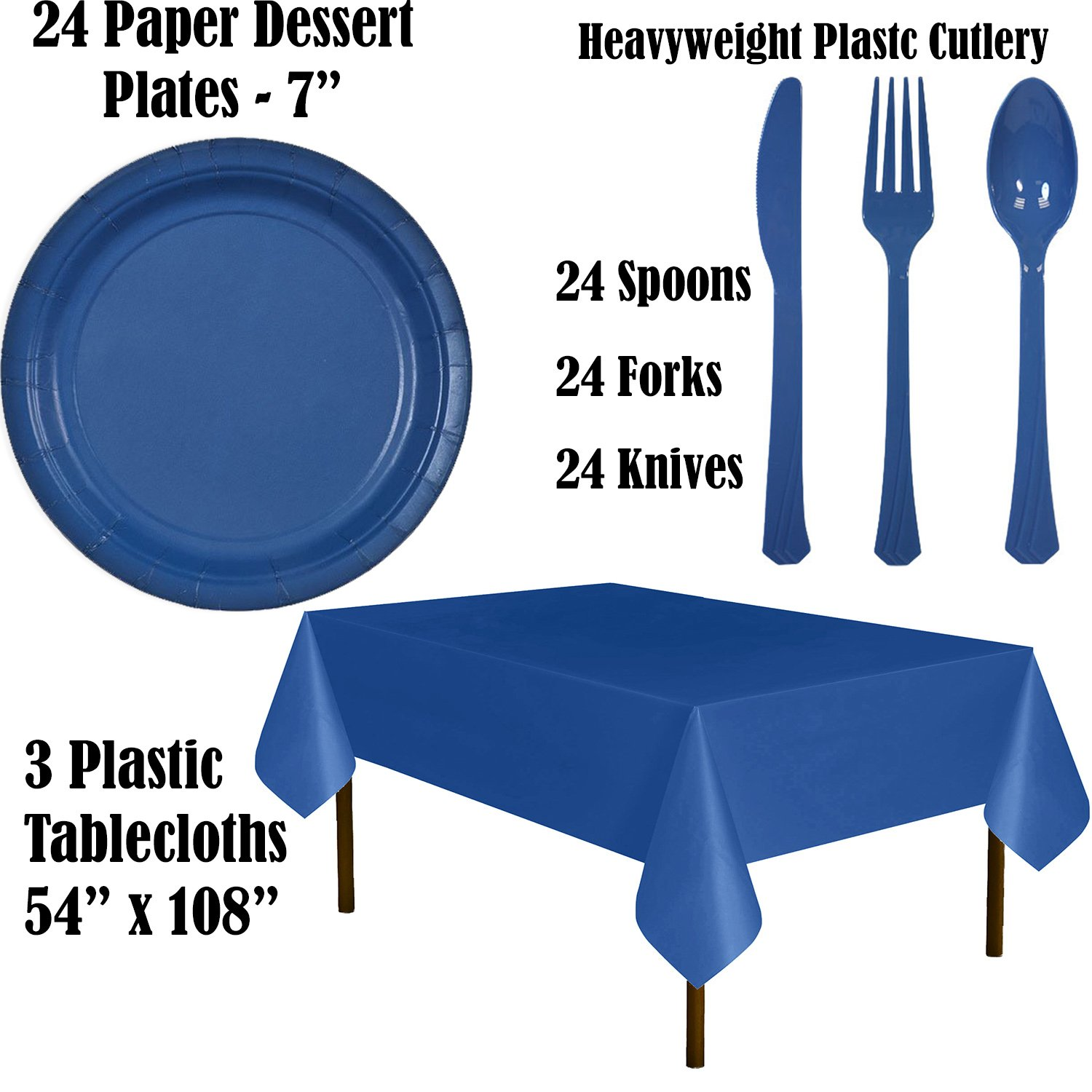 Paper Tableware Set for 24 - Light Blue & Blue - Dinner and Dessert Plates, Cups, Napkins, Cutlery (Spoons, Forks, Knives), and Tablecloths - Full Two-Tone Party Supplies Pack by HeroFiber (Image #3)