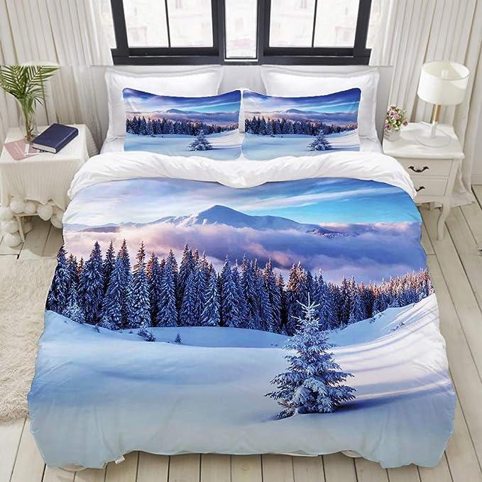 Mequib Com Per Letto A Due Piazze Paesaggio Di Neve In Cotone Ciranocasa Completo Lenzuola Matrimoniale Tessili Per La Casa Set Di Lenzuola E Federe