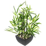 SIDCO Deko-Bambus im Topf Kunstpflanze Fensterdeko künstliche Zimmerpflanze
