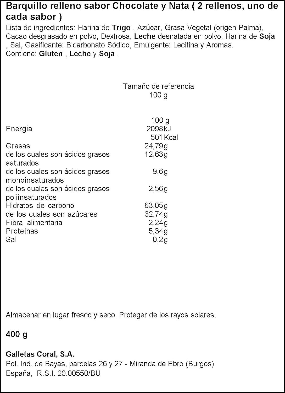 Galletas coral boer choco nata coral paquete 400 g: Amazon.es: Alimentación y bebidas