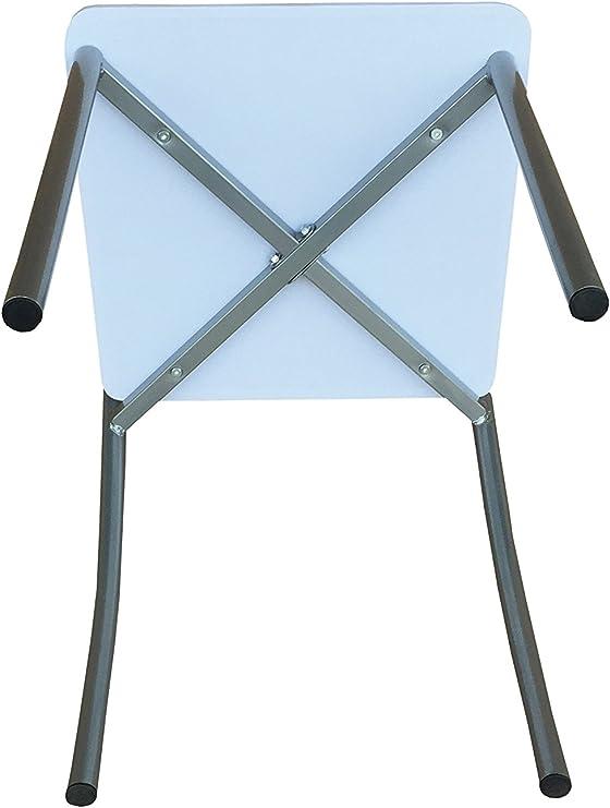 AVANTI TRENDSTORE Gentilino Set con tavolo e 4 sedie per cucina o sala da pranzo, in metallo e MDF bianco. Dimensioni tavolo: LAP 110x76x70 cm,
