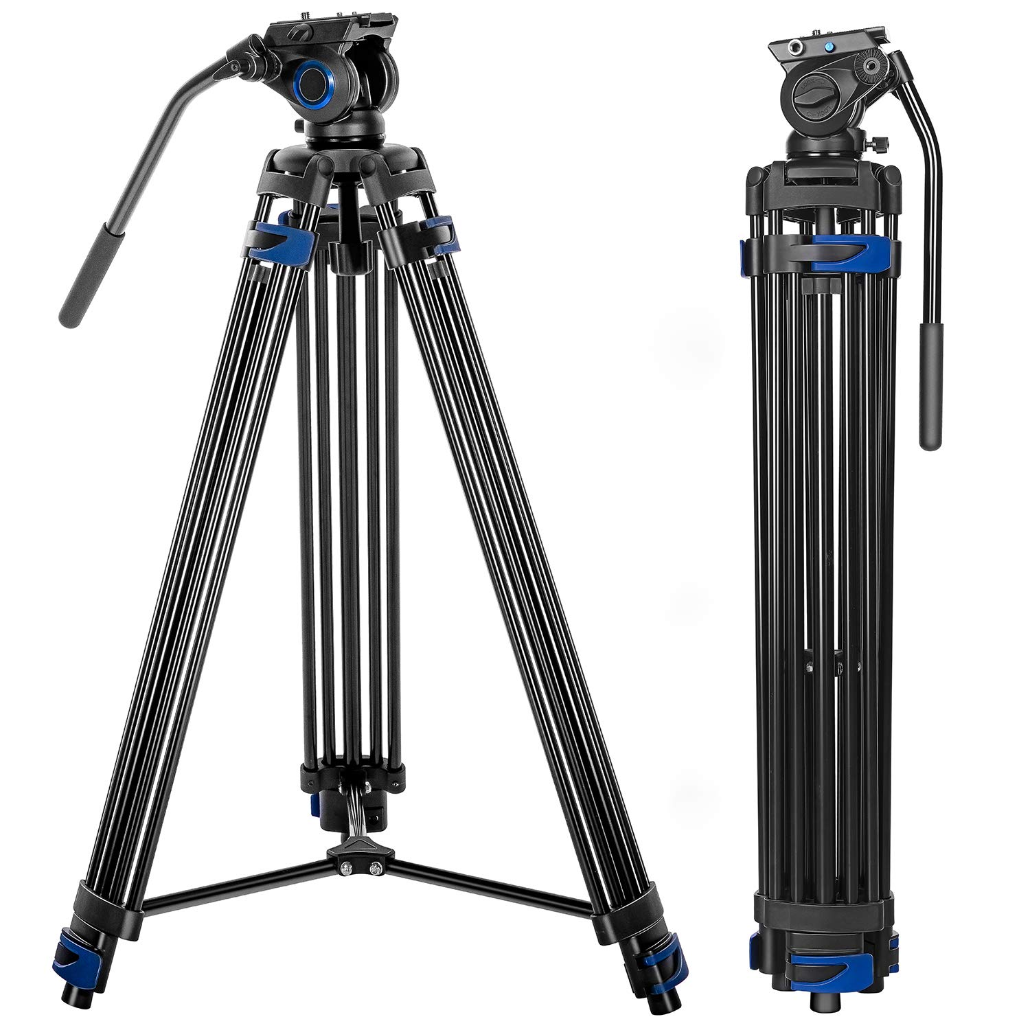 Professional Video Tripod System, 72-inch Aluminum Heavy Duty Twin Tube Camera Tripod with Fluid Head for DSLR Camcorder, Max Loading 13.2 LB by DIGIANT