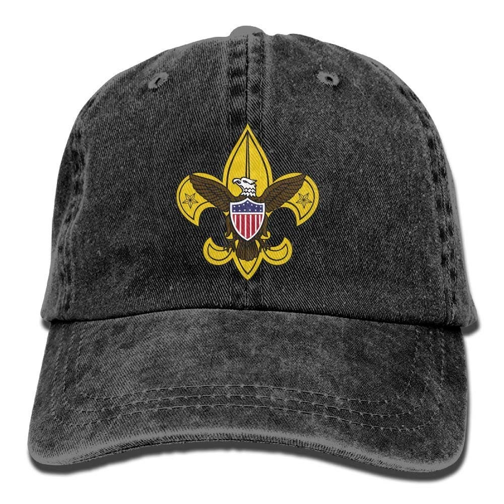 Unisex Boy Scout Fleur De Lis Dyed Washed Denim Cotton Baseball Cap Hat Black