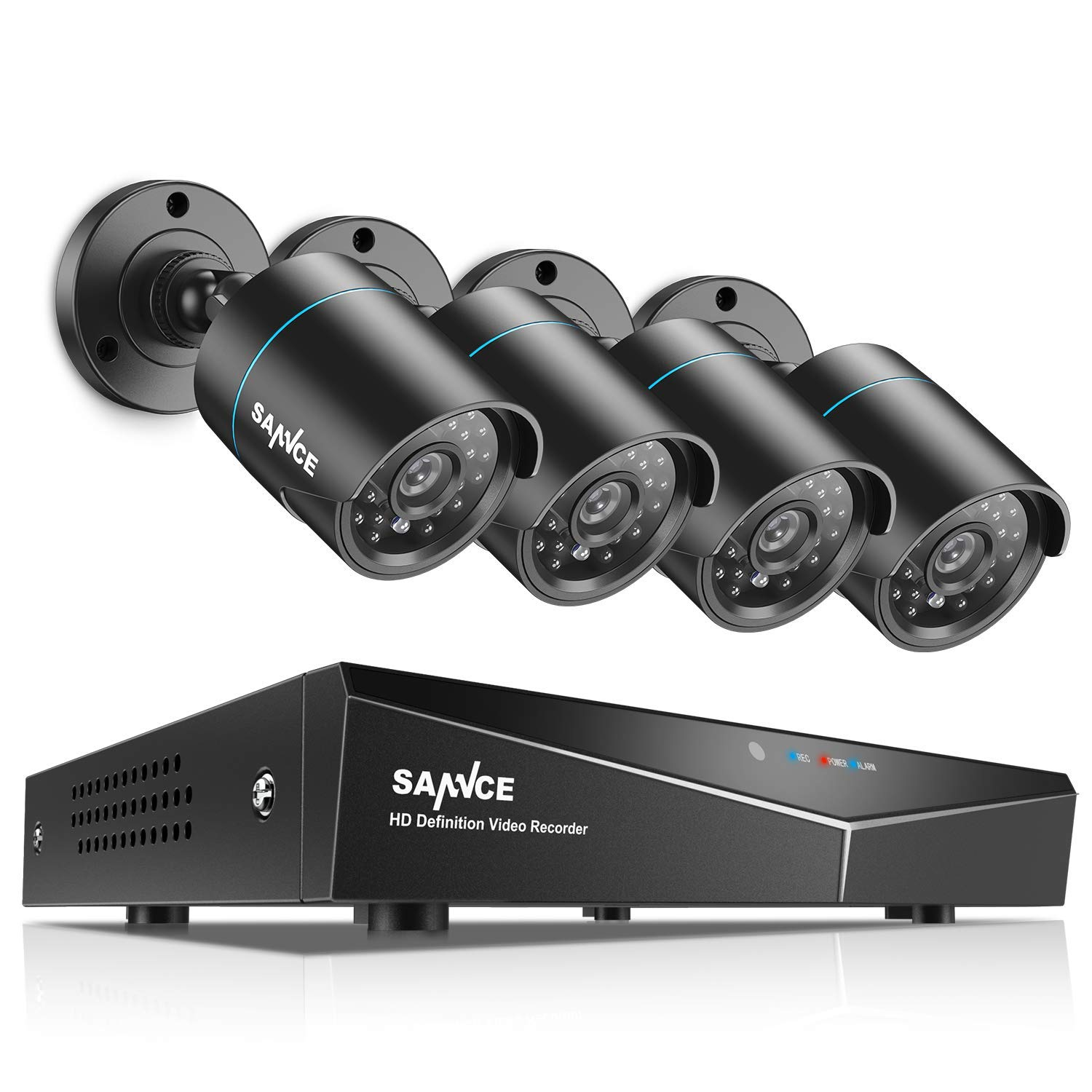SANNCE 4CH HD 1080N Security Camera System DVR and 4x1.0MP Indoor Outdoor IP66 Weatherproof Bullet CCTV Cameras with IR 66ft Night Vision LEDs, Easy Remote Access ,Home Surveillance System,No HDD by SANNCE
