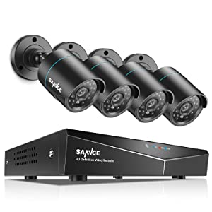 SANNCE 4-Channel HD 1080N Security Camera System DVR and (4) 1.0MP Indoor/Outdoor Weatherproof Bullet Cameras with IR Night Vision LEDs, Remote Access (No HDD)