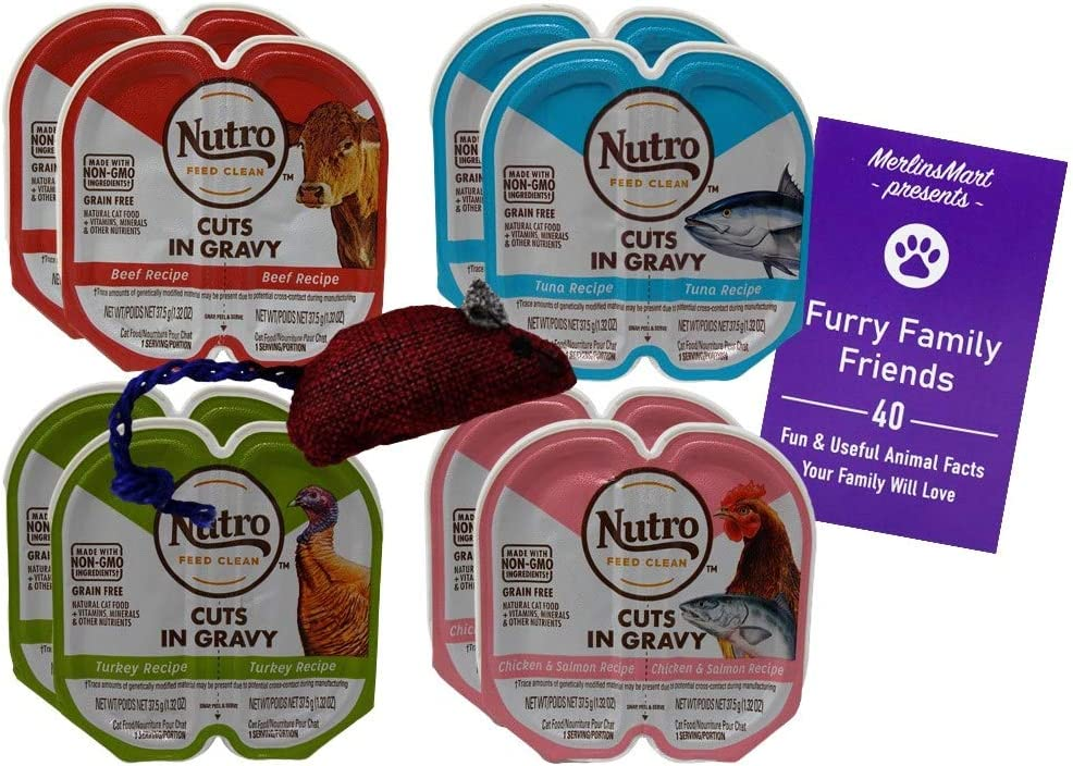 Nutro Perfect Portions Grain Free Cuts in Gravy Cat Food 4 Flavor 8 Can Variety | (2) Each: Beef, Tuna, Turkey, Chicken Salmon (2.6 Ounces) Plus Catnip Toy and Fun Facts Booklet Bundle