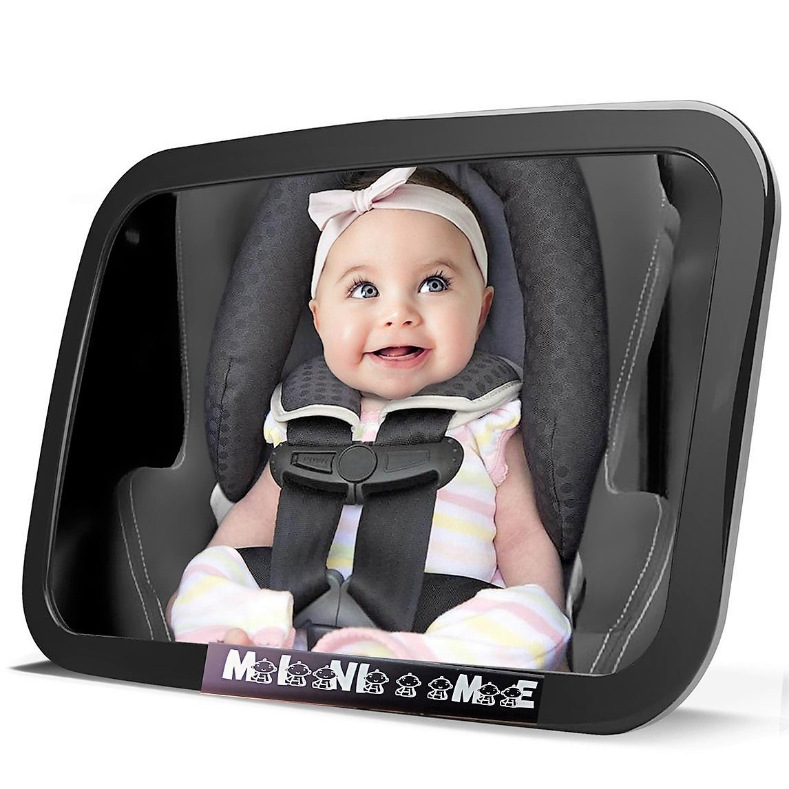 Baby Car Mirror for Back Seat | View Your Child in Rear Facing Car Seat | See Children or Pets in Backseat | X Large | Crash Tested Best Infant Safety Double-Strap Mirror | Wide Angle | Shatterproof I Shop Savy IS080264