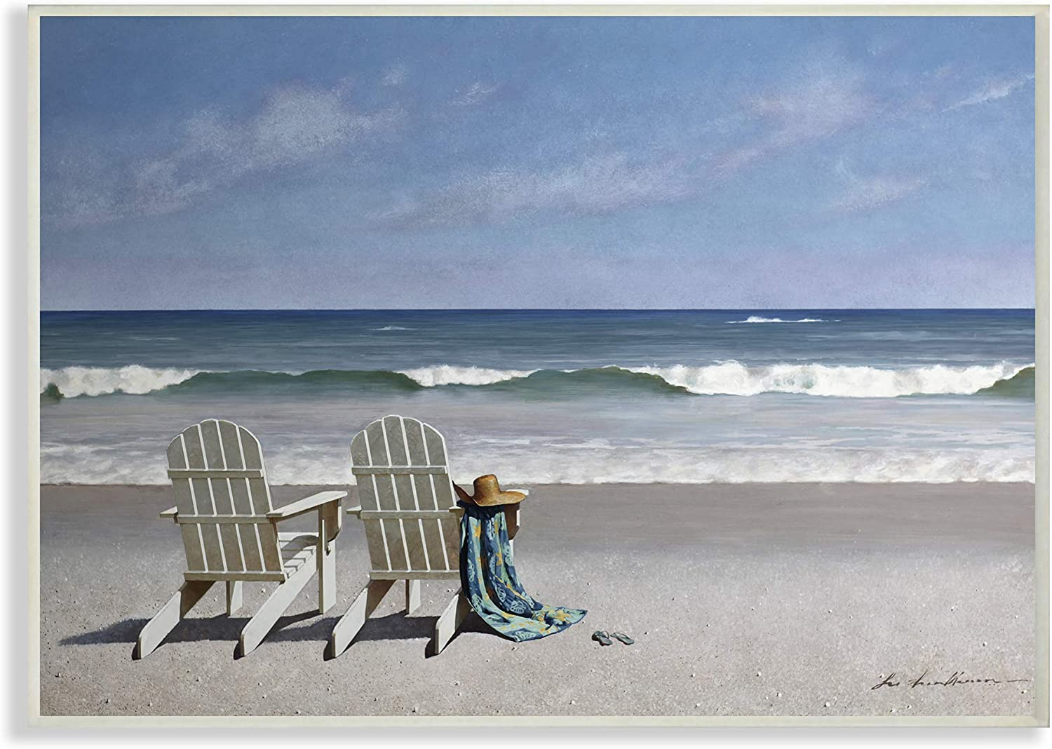 The Stupell Home Decor Two White Adirondack Chairs on The Beach Wall Plaque Art, 10 x 15, Multi-Color