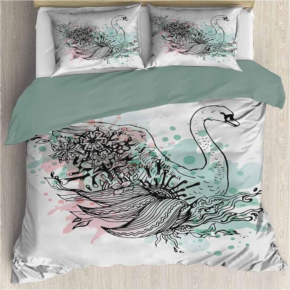 Bedding-set-with-hand-sketched-swan-floral-design