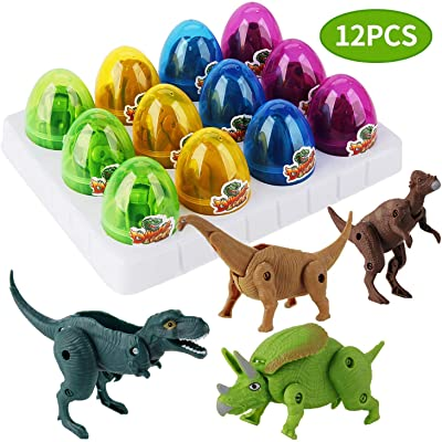 12 Pack Dinosaur Toys for Kids, Unique Easter Eggs Basket Stuffers Deformable Dinosaur Desktop Decorations Eggs, Party Kids Gifts Toys and Science STEM Learning for Boys Girls: Toys & Games