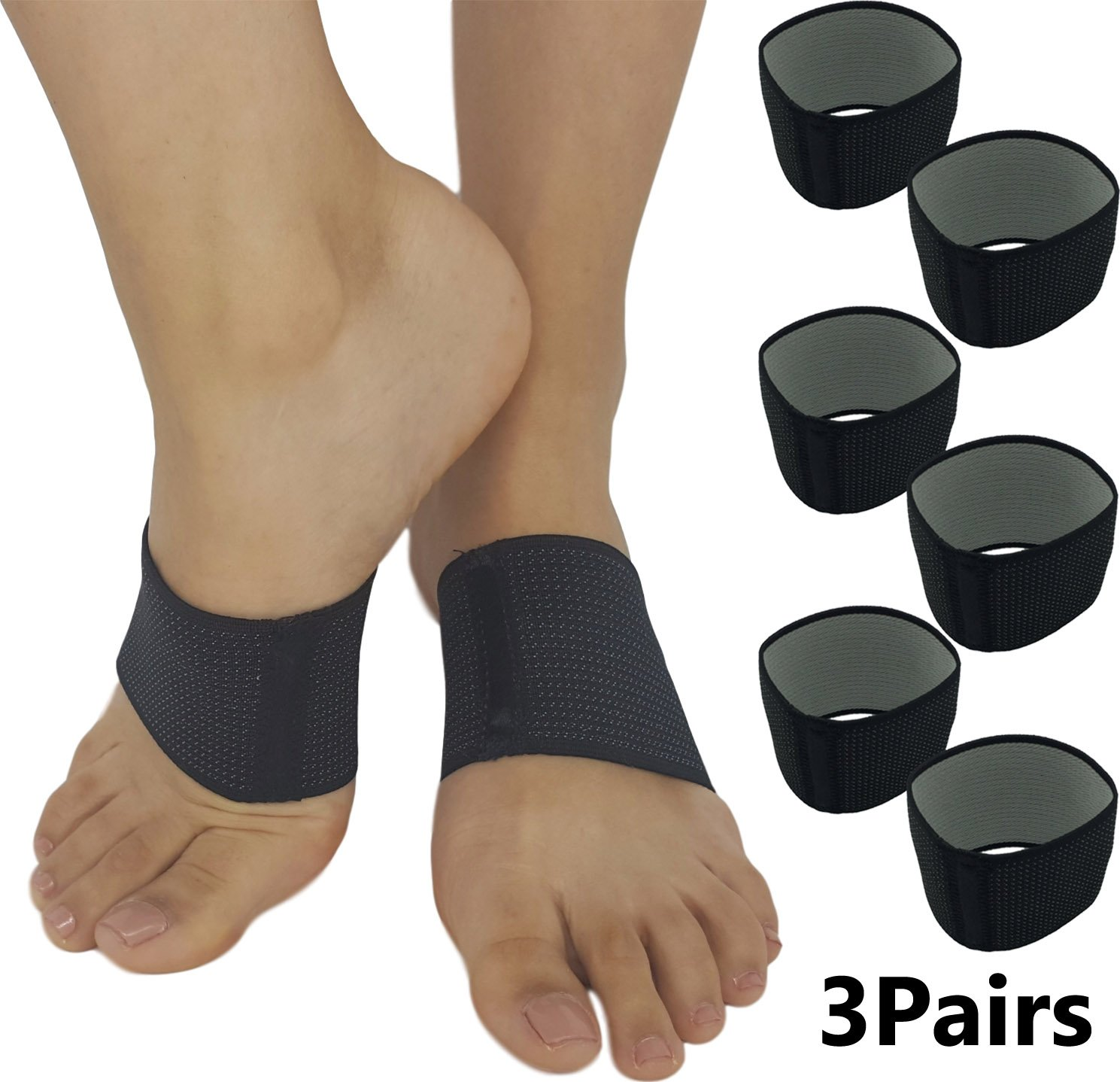 Plantar Fasciitis Brace Arch Supports - Effective Foot and Heel Pain Relief Sleeves Helps Sore Heels Spurs, Flat Feet and Arches Comfortable Copper Infused Fascia Bands (3 Pairs)