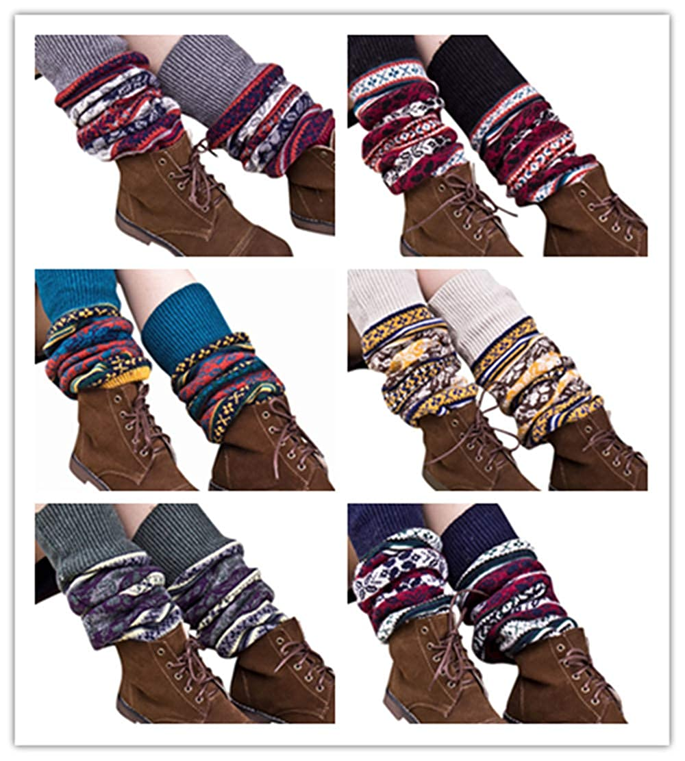 9137511653d Amazon.com  YunZyun Womens Winter Christmas Knit Long Striped Over Knee Long  Boot Thigh-High Warm Socks (6 Pack)  Clothing