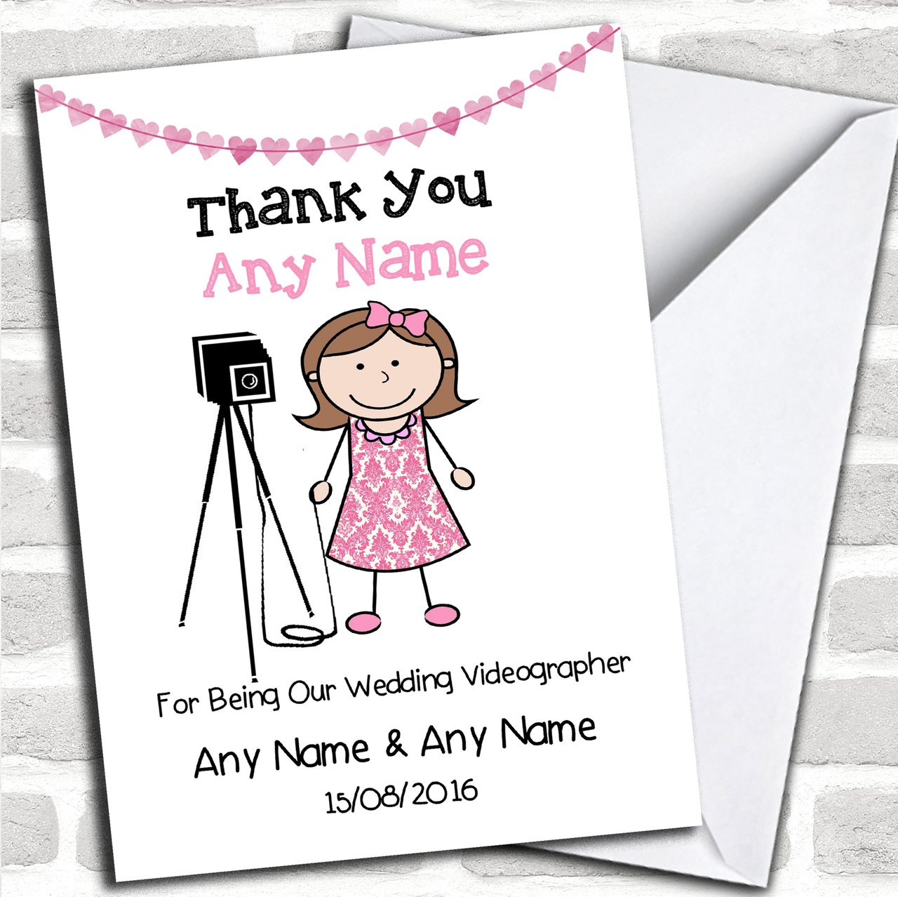 Thank You For Being Our Wedding Photographer Female Customised Thank You Greetings Card Thank You Cards