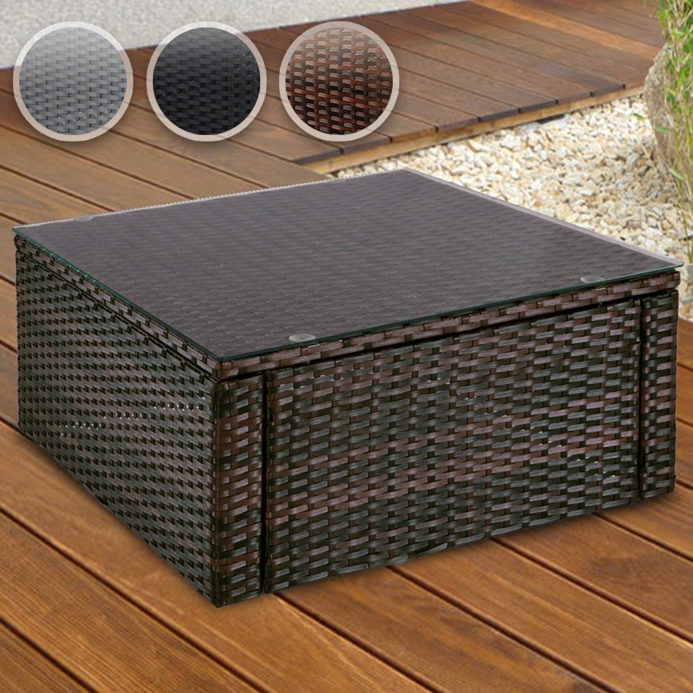 Polyrattan Coffee Tea Side Table With Transparent Top Safety Glass