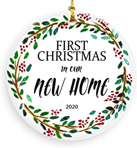 First Christmas in Our New Home 2020 Round Christmas Ornament Double Sided Xmas Decor Christmas Tree Ornaments Ideas 2020 Home Decortion
