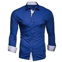 Kayhan Twoface Herren-Hemd Slim-Fit Langarm-Hemden S-6XL