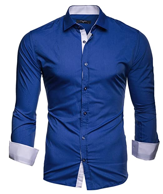 newest 013a2 98b55 Kayhan Twoface + Python II Herren-Hemd Slim-Fit Langarm-Hemden Streifen  S-6XL