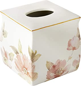 SKL HOME by Saturday Knight Ltd. - U1101800240004 Misty Floral Tissue Box Cover, 6.09x6.33x6.39, Pink