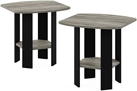 Amazon Com Furinno Simple Design End Table 2 Pack French Oak Grey Black Furniture Decor