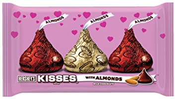 Hersheyu0027s Kisses Valentineu0027s Milk Chocolate With Almonds, 10 Ounce Bag