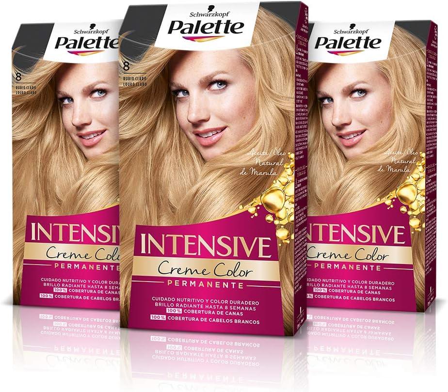 Schwarzkopf Palette Intensive Creme Color – Tono 8 cabello Rubio Claro (Pack de 3) - Coloración Permanente de Cuidado con Aceite de Marula, Perfecta ...