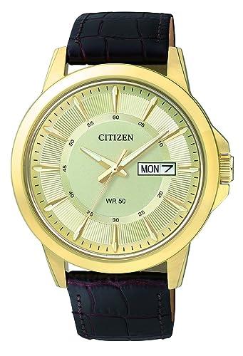 Bf2013 05pe Herren Quarz Leder Uhr Citizen Analog Mit Armband A5R34jL