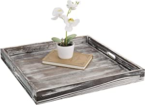 MyGift 19-inch Square Rustic Torched Wood Ottoman Tray with Vintage Metal Side Accent Wraps