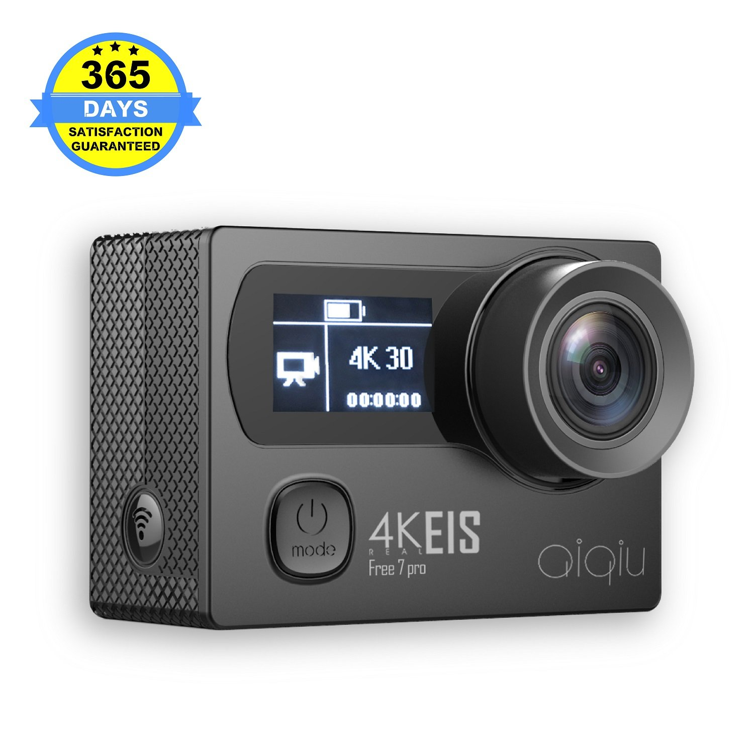 AIQIU Native 4K EIS Action Camera, Wifi Waterproof Sports Video Cam with Sony Sensor Ambarella Chipset, 12MP 170 Wide Angle + 2 Rechargeable 1350mAh Batteries + Remote Control + 22 Mounting Kits by AIQIU