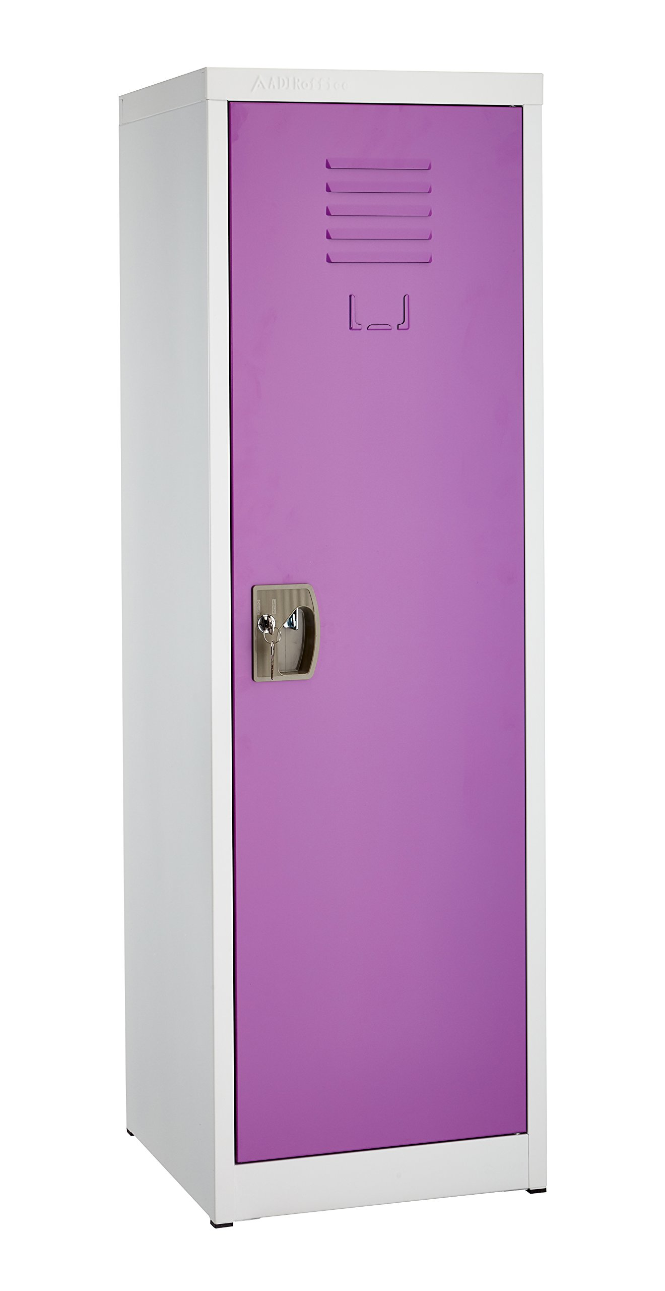 AdirOffice Kids Steel Metal Storage Locker - for Home & School - with Key & Hanging Rods (48 Inch, Purple) by AdirOffice