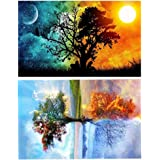 CH HAICHENG 2 Pack DIY 5D Diamond Painting Kits Full Drill Diamond Paint by Number for Adults Kids, Diamond Rhinestone Crystal Painting Kit Art Craft for Home Wall Décor
