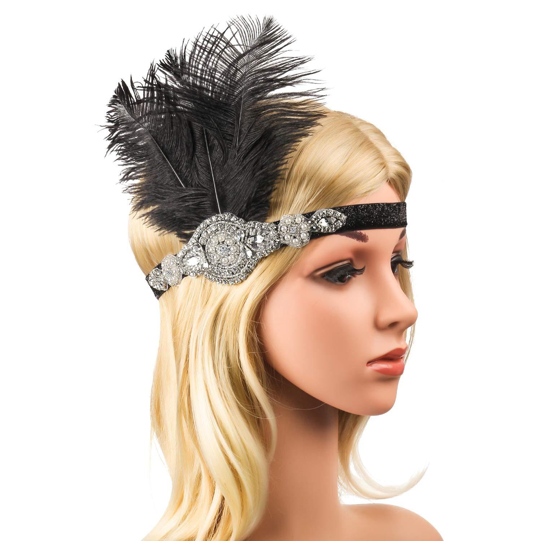 G Porta-Cigarrillos Great Gatsby Disfraces Set para Mujeres Guantes Beelittle 1920s Accesorios Set Diadema Collar