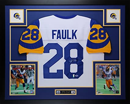 size 40 4d1d6 8e435 Marshall Faulk Autographed White Rams Jersey - Beautifully ...