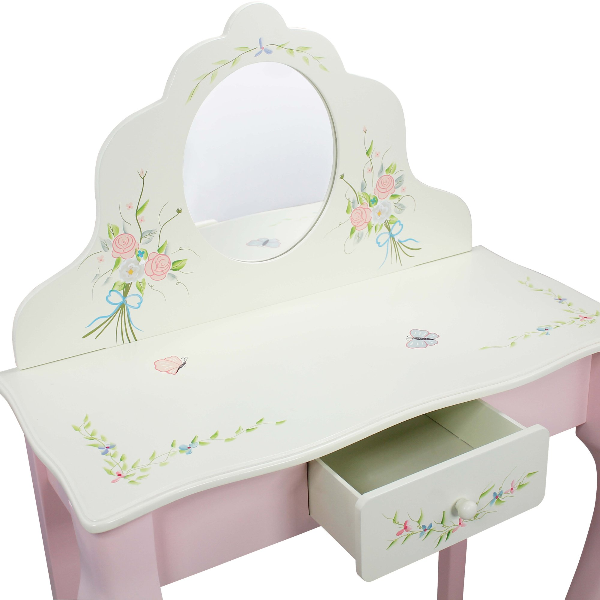 Fantasy Fields - Bouquet Thematic Kids Classic Vanity Table and Stool Set with Mirror   Imagination Inspiring Hand Crafted & Hand Painted Details   Non-Toxic, Lead Free Water-based Paint by Teamson Design Corp (Image #6)