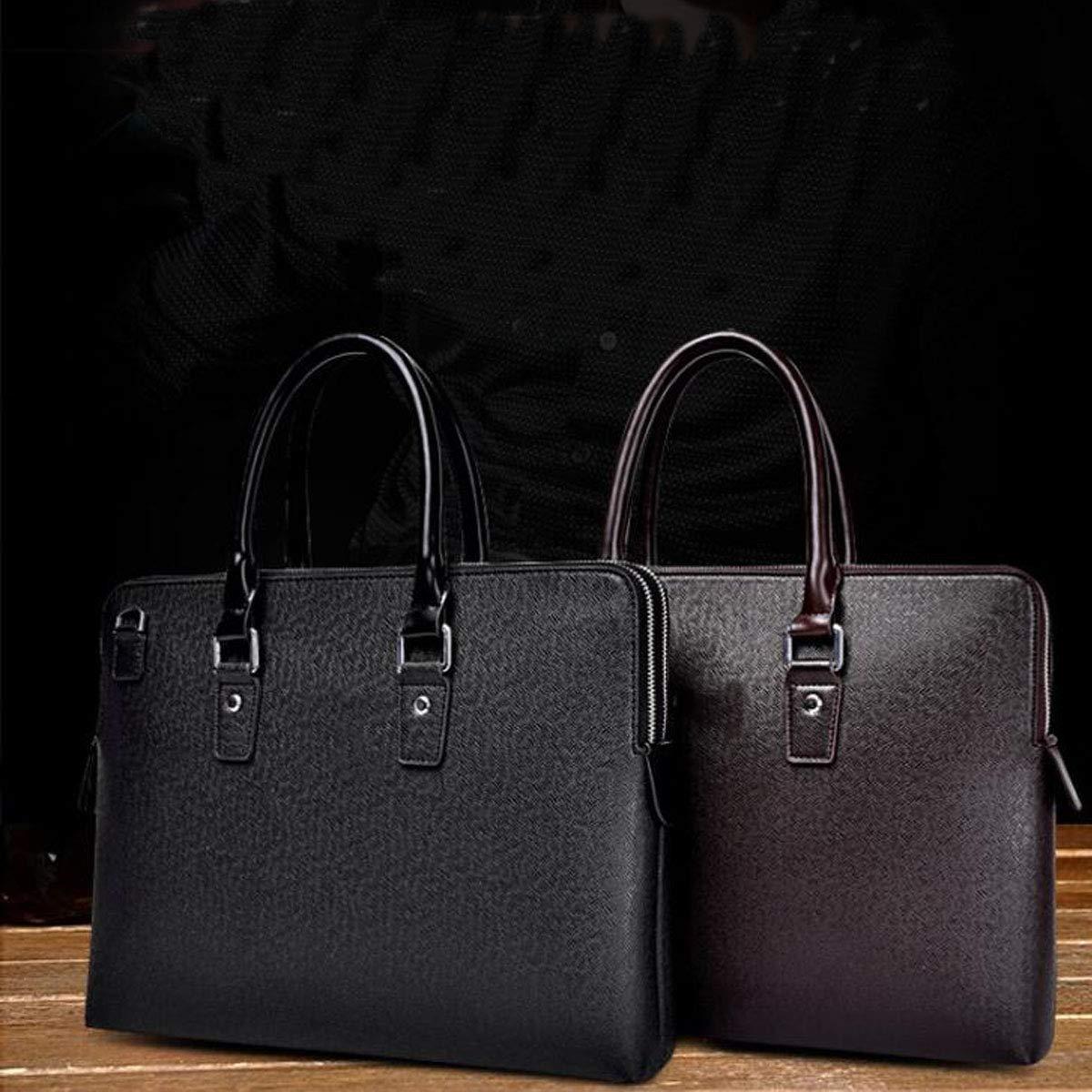Color : Dark Coffee New Leather Mens Bag 8haowenju Briefcase Size: 38829cm Double Zipper Mens Handbag