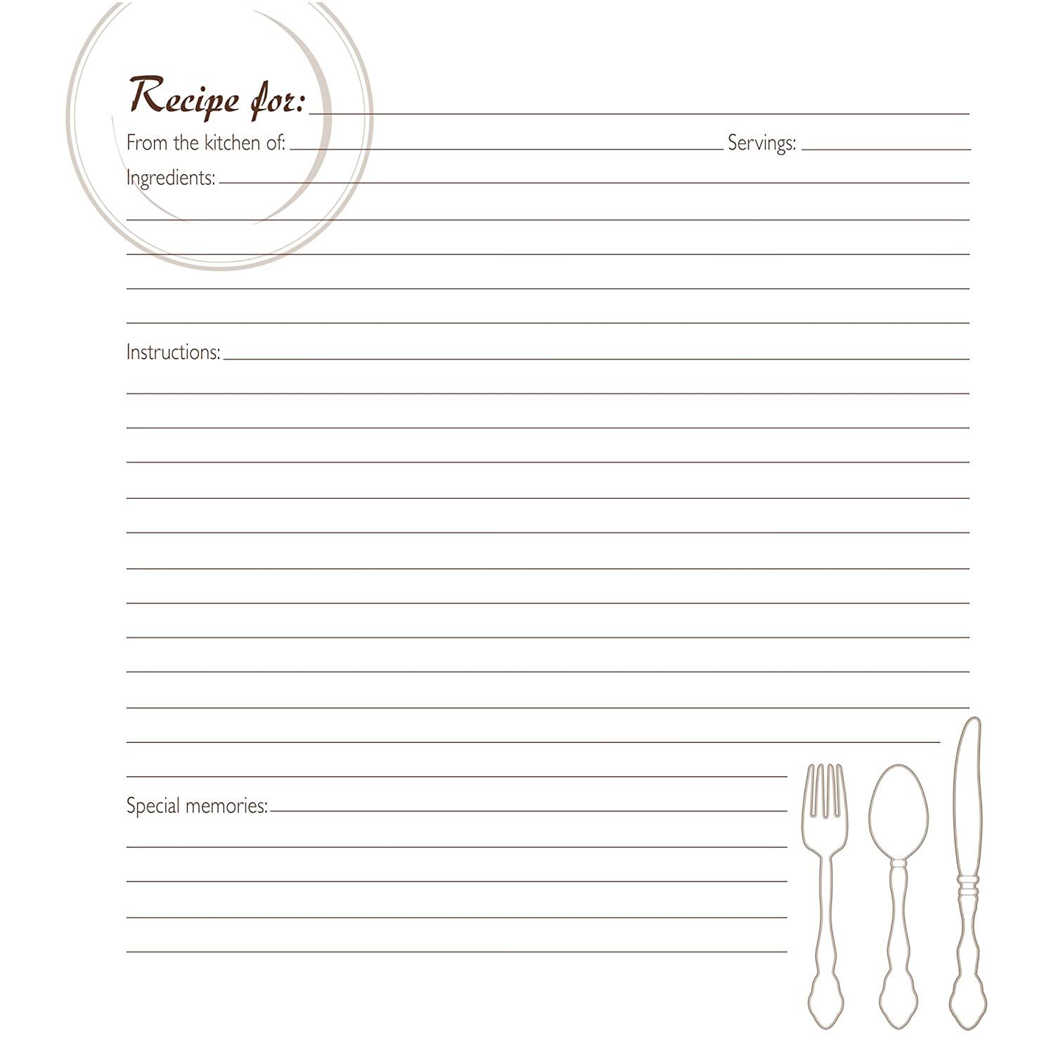 CRG Family Recipe Memory Book Journal Page Refill, Pack of 40, White C.R. Gibson QPMJ