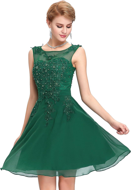 TALLA 40. GRACE KARIN Vestido Elegante para Boda Ceremonia De Vuelo Encaje Floral Precioso Maxi Verde Corto 40