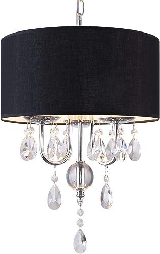 PAPAYA Black Chandelier Crystal Pendant Lighting Flush Mount Ceiling Light fixtures Mini Drum Shade 3-Light Hanging lamp