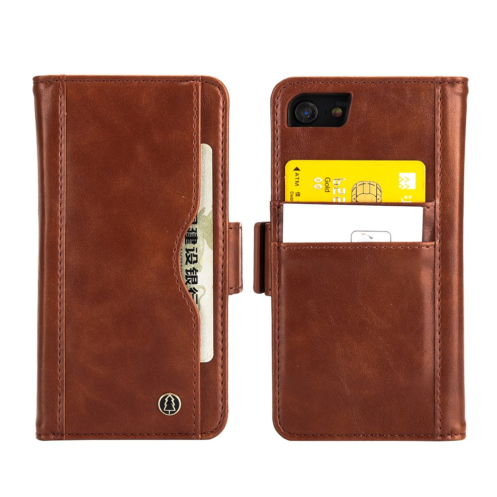 iPhone 7/8 Multifunctional Cellphone Case Cover With Card Slot Cash Compartment,PU Leather Case,Automatic Adsorption,Ultra-Strong Magnetic Closure.(Brown iPhone 7/8)