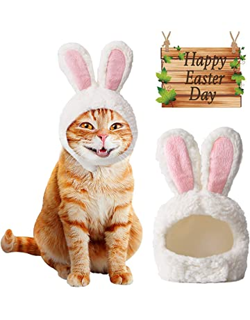 530124d9 MEISO Cat Easter Costume, Cat Outfit Adjustable Size Bunny Ears puppy  Easter Outfit Exciting Gift
