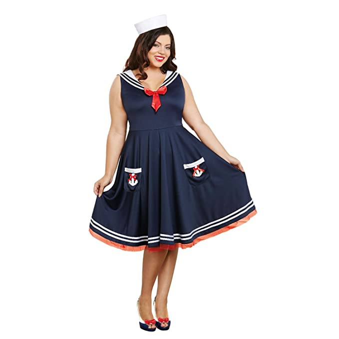 1940s Costumes- WW2, Nurse, Pinup, Rosie the Riveter Dreamgirl Womens Aboard Plus Size $45.98 AT vintagedancer.com