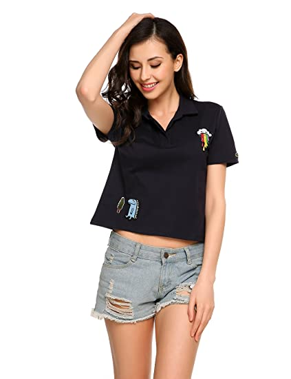 cf727d88 Women Casual Print T-shirt, V-Neck Short Sleeve Polo Collar Sports Tee Tops  (Plus size) at Amazon Women's Clothing store: