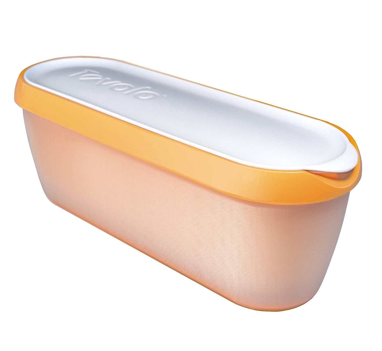 Tovolo Glide-A-Scoop, Non-Slip Base, Insulated Ice Cream Tub, 1.5 Quart, Orange Crush