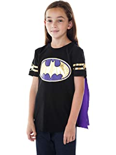 DC Comics Girls T-Shirt & Cape Set - Choose Wonder Woman, Supergirl,
