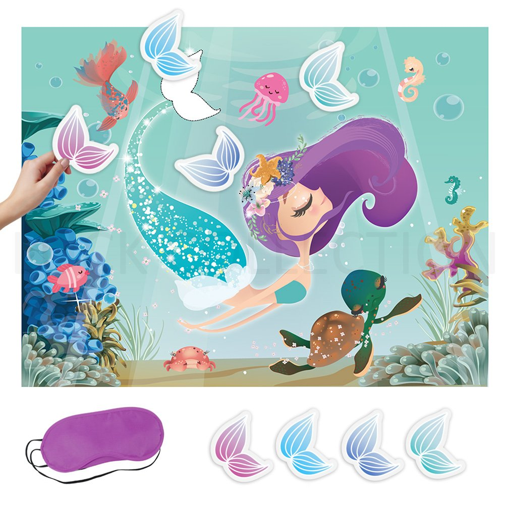 LUCK COLLECTION Pin the Tail On the Mermaid Party Game Under the Sea Party Games for Kids Mermaid Party Supplies by LUCK COLLECTION