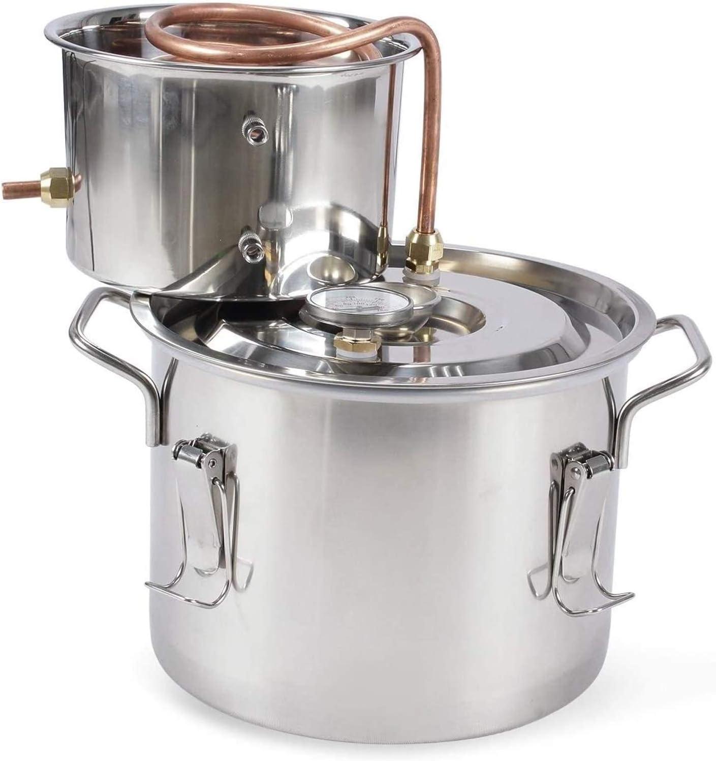 Kit De Licores Destilador De Alcohol De Agua Elaboración Casera Kit De Elaboración De Vino Caldera De Aceite Tubo De Cobre Acero Inoxidable,1