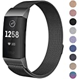 Milanese Mesh Metal Bands Compatible for Fitbit Charge 3 / Charge 3 SE Bands Women Men Small/Large, Replacement Stainless Steel Accessory Watch Wrist Straps (Small, Black)