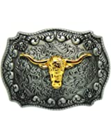Golden Long Horn Bull Western Belt Buckle