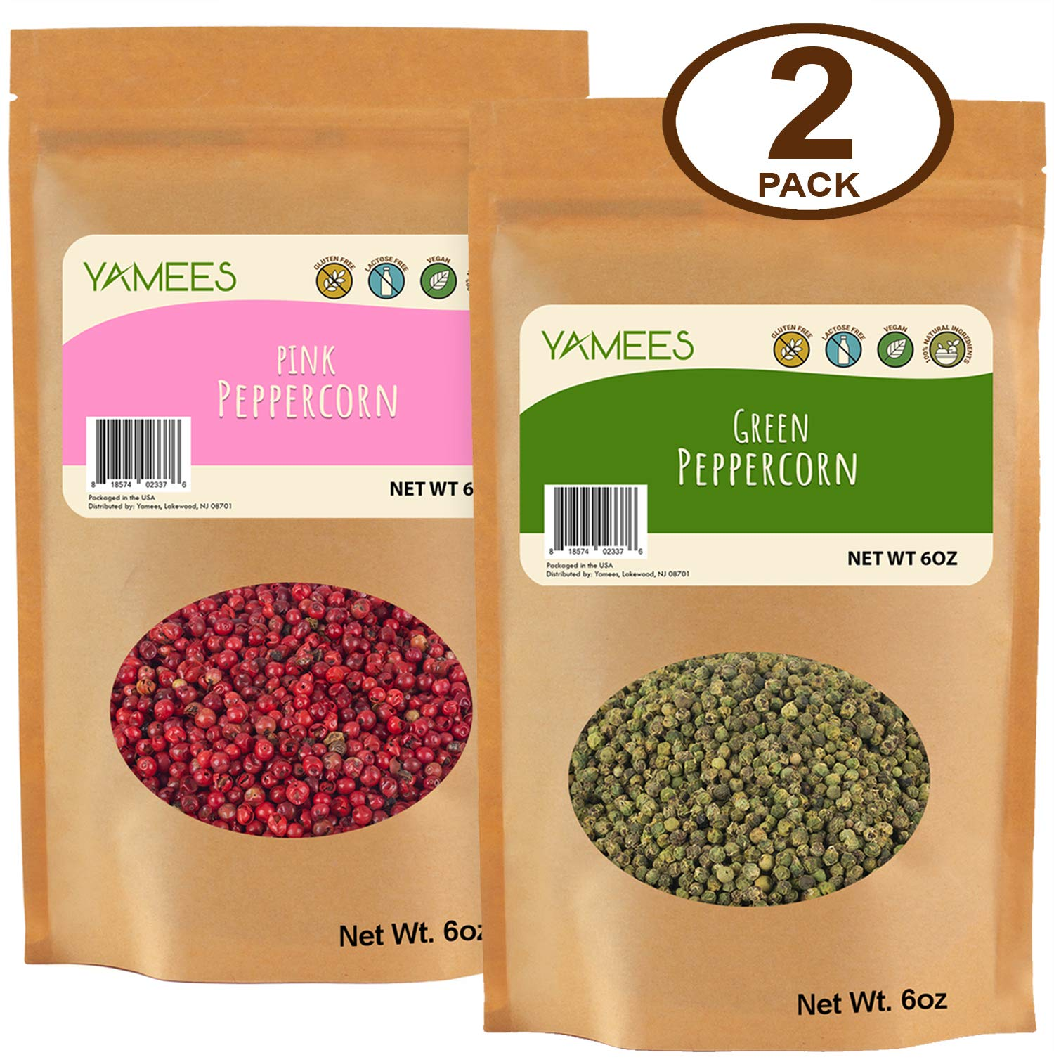 Yamees Peppercorns - Pink Peppercorns - Green Peppercorns - Mix Peppercorns - Bulk Spices - 2 Pack of 6 Ounce Each - Peppercorn Medley by YAMEES